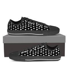 Black & White Heart Low Top Shoes