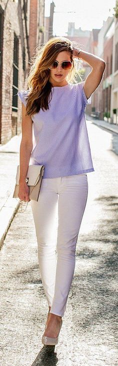 #spring #outfits Blue Striped Tee + White Skinny Jeans