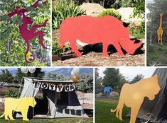 safari adventure birthday party - love the large silhouette animals