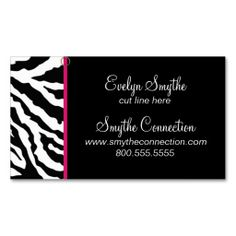 Zebra print fashion designer hair stylist salon business card zebra print business card template i love this design it is available for customization or ready to buy as is all you need is to add your business info reheart Choice Image