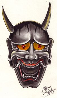 Samurai Oni Mask Tattoos | Hannya mask tattoo design by Greg James.