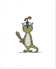 Dragon Knight -- Boy Nursery Art Print....I know he is not the right color, but he is sooooo cute!!!!!