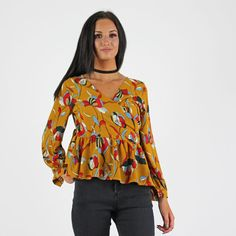 PinkCad Mustard Yellow Red Floral Print Wrap Peplum Blouse www.pinkcadillac.co.uk Cute Crop Tops, Peplum Blouse, Print Wrap, Bandeau Top, Mustard Yellow, Off The Shoulder, Crochet Top, Tees, Shirts