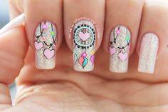 Pink love heart nails nail ideas acrylic nails, nails и pret Dream Nails, Love Nails, Pink Nails, Pretty Nails, Nail Swag, Indian Nails, Dream Catcher Nails, Valentine Nail Art, Heart Nails