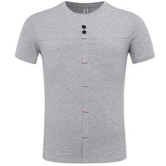 Sale 27% (16.97$) - Summer Men\'s Fashion Stitching Button T-shirt Casual Solid Color Short Sleeve Tops