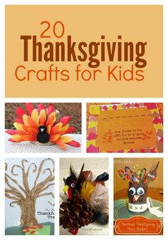 20 Thanksgiving Crafts for Kids to help your family celebrate the season. You'll find crafts to decorate your Thanksgiving dinner table and lots of turkeys!