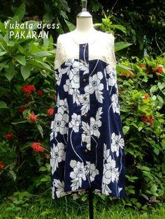 Kimono upcycled dress summer cotton Yukata Tsubaki with by PAKARAN, $49.00