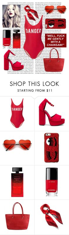 """""""heather chandler"""" by strawberryshades ❤ liked on Polyvore featuring ADRIANA DEGREAS, Jeffrey Campbell, Chiara Ferragni, Elizabeth Arden, Chanel and Mulberry"""