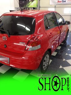 Toyota Yaris Auto Red Window Tinting by The Spokane Shop