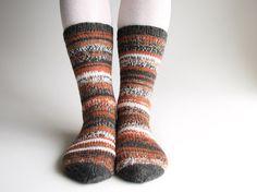 Hand Knitted High Socks   Asymmetrical Striped  100 by milleta, €30.00