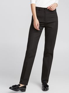 Contemporaine exclusive Chic and comfort combine on this piece, perfect for the active modern woman High waist, straight leg style Inseam length: The model is wearing size 4 Leg Stretching, Cotton Pants, Straight Leg Pants, Mannequin, Legs, Clothes For Women, Chic, Model, How To Wear