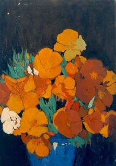 Lucia Mathews - California Poppies in Blue Bowl