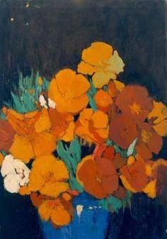Lucia Mathews - California Poppies in Blue Bowl