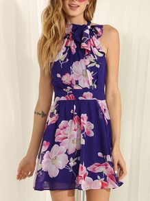 SheIn offers Blue Sleeveless Floral Patterned Print Dress & more to fit your fashionable needs. Flower Dresses, Dance Dresses, Cheap Dresses, Short Dresses, Blue Dresses, Graduation Dress College, Frock For Women, Beautiful Dresses, Pretty Dresses