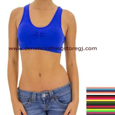 febfbb6917 B55 MUSA Basic Stretch Racer Back Sports Bra Top With Pad One Size Fits  Most.  3 each (18 Colors)