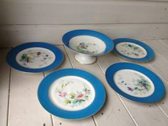 SET OF 4 VINTAGE CHINA DESSERT PLATES AND COMPORT/TAZZA/CAKE STAND, POSSIBLY NORITAKE - FREE UK POSTAGE