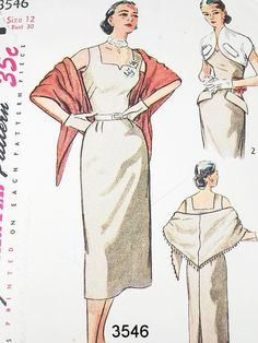 Vintage 50s Dress Pattern - Simplicity 3546 - Misses' One-Piece Dress, Bolero & Stole - SZ 12/Bust 30