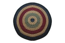 California - Country Navy with Sage & Burgundy Round Braided Rug This high-quality braided rug is made by American workers at our family-owned business in the North Carolina Mountains. It is made from Naturalized Olefin, which is a synthetic, polypropylene yarn that is extremely durable, yet soft enough for use indoors. It is color fast and washable. Visit www.stroudbraided... for more details