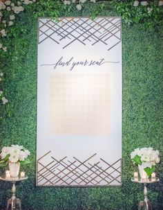 Modern  Escort Wall with Mirrored Acrylic Signage - Unique Escort Wall ideas . - By: LadyLibertyEvents.com #modernbeachwedding