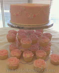 First Communion Cake and matching cupcakes.