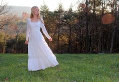 Vintage 1970s Wedding Dress in White Lace & Embroidery . Hippie Gunne Sax Style Size Small to Medium. $137.00, via Etsy.