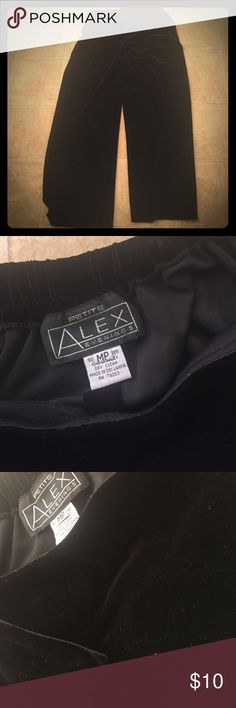 Alex evenings black softest velvet trousers  PM Petite medium softest stretch velvet trousers. 90 poly 10 spandex. Dry clean. Pull on full fit. Great party cruise event holiday staple trouser. By Alex evenings. Alex Evenings Pants Trousers