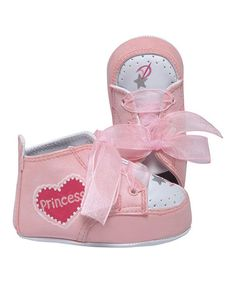 Pink & White Princess Sneaker by Lil Tootsies #zulily #zulilyfinds so cute too bad it's only in 0-3mths