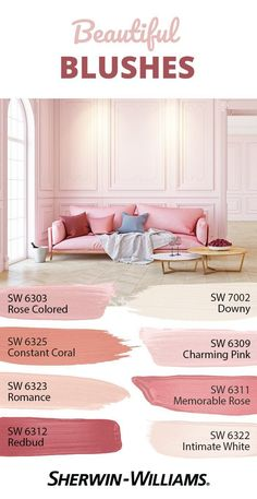 Stay rosy all day with this pink palette that's a wonderful delight for your eyes. Using pink on your walls promotes hope and playfulness in a space, so it's perfect for rooms where all the fun happens because it inspires a positive spirit. Pink Paint Colors, Paint Colors For Home, House Colors, Light Pink Paint, Light Pink Walls, Light Paint Colors, Soft Pink Color, Bedroom Colors, Bedroom Decor