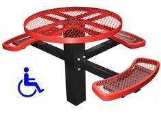 Smaller coated metal mesh table has wheelchair accessible side, make sure there is an accessible route to the installed table.