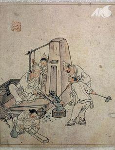 Painting of a blacksmith's shop, by Danwon Kim Hong-do - Joseon Korea