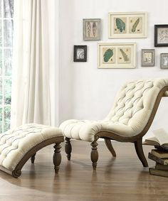 Beige Linen Button Curved Chaise Lounge  Ottoman | zulily