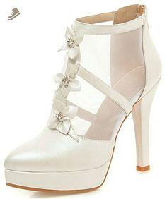 babf25ad47 Summerwhisper Women's Elegant Flowers Gauze Splicing Back Zipper Ankle Boots  Pointed Toe Stiletto High Heel Platform Pumps White 4 B(M) US -  Summerwhisper ...