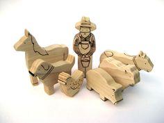 Farm Animal Set - Wooden Toys - Organic Toys. $40.00, via Etsy.