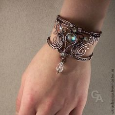 """Patinated """"Magic Dream"""" copper bracelet with a buckle that allows one to adjust the size Bracelet Fil, Copper Bracelet, Copper Jewelry, Wire Jewelry, Beaded Jewelry, Cuff Bracelets, Jewlery, Copper Wire, Jewelry Knots"""