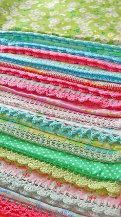 Crocheted edging... so pretty ~ we had pillow cases like this growing up, may have to make a trip to the fabric store
