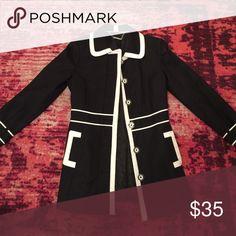 Cute fitted pea coat!! Black and white coat size 4 White House Black Market Jackets & Coats Pea Coats