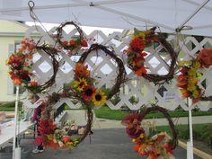 Hand wrapped Fall Grapevine Wreaths.  Sept. 2014 ~ Made by Robin Rivera & Pamela Truenow