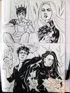 "azurecomics: "" Inktober 2017 Day 14: Fierce Fourteenth we have Maven, Evangeline, Cal and Mare from Red Queen by @vaveyard. I thought this scene matched the prompt of ""fierce"" pretty darn well. I love this whole series and can't wait for the last..."