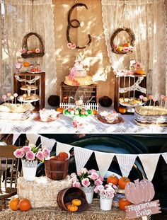 Vintage Pumpkin & Roses first birthday theme by Million Dollar Smile Celebrations. Also works for a baby shower October Birthday, Girl First Birthday, Baby Birthday, First Birthday Parties, Birthday Party Themes, First Birthdays, Birthday Ideas, Fall Birthday Decorations, Pumpkin Patch Party