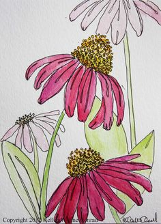 Watercolor Flowers, Kellee Wynne Conrad www.- Watercolor Flowers, Kellee Wynne Conrad www.artistwriterd… Watercolor Flowers, Kellee Wynne Conrad www. Pen And Watercolor, Watercolor Flowers, Watercolor Pencils, Watercolor Landscape, Paintings Of Flowers, Watercolor Tattoo, Plant Drawing, Painting & Drawing, Encaustic Painting
