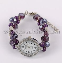 Wholesale Oval Alloy Rhinestone Electronic Watch Bracelets, with Amethyst, Glass Beads and Brass Lobster Claw Clasps, Antique Silver, 190mm - Pandahall.com