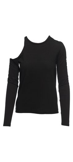 Pam & Gela Long Sleeve Shoulder Cutout Tee in Black / Manage Products / Catalog / Magento Admin