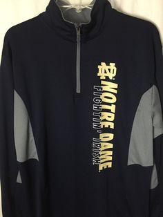 NCAA Notre Dame Fightin Irish Blue 1/2 Zip Pullover Fitness Sweatshirt M Top