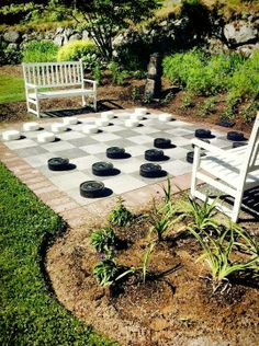 I am picturing our oversized driveway becoming a giant checkers board by day and an awesome dance floor at night! #PinMyDreamBackyard @mrsilverscott @mrdrewscott
