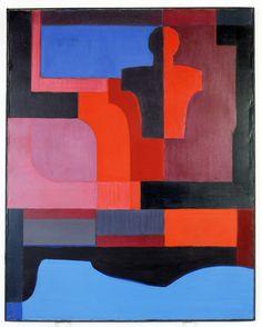 """Mirosława Ofertowicz - """"Błękitny manekin"""", 1972 r. Olej, płótno, 92×73 cm."""