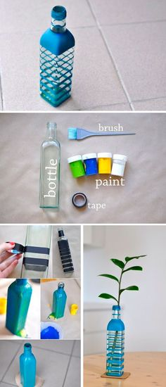 How to DIY unique vase from glass bottle guide! You will need glass bottle, brush, paints, tape.