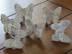 Distressed White Butterfly Knobs/ Butterfly by VeritasInspired, $7.25