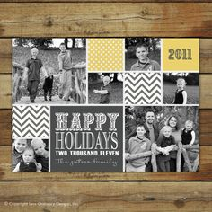 photo holiday card or christmas card - chevron polka dot collage