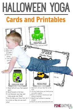 Halloween gross motor activities!  These are great for getting in physical activity at Halloween.  Love these for preschool gross motor, elementary school kids, physical education, PT, OT, SLP, home or camps! Kids yoga with a Halloween theme!  Pose like a black cat or spider.  Cards and printables available in the pack!