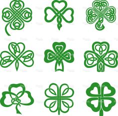 Collection of Celtic Knot Shamrocks including three and four leaf. Collection of Celtic Knot Shamr Four Leaf Clover Drawing, Four Leaf Clover Tattoo, Celtic Shamrock, Celtic Knot Tattoo, Celtic Tattoos, Celtic Knots, Celtic Clover Tattoos, Gaelic Tattoo, Celtic Infinity Knot